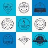 Uppsättningen av olika logomallar för står paddla upp athirst royaltyfri illustrationer