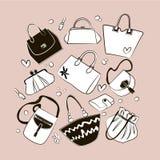 Uppsättningen av olika påsar, kopplingar, börs handväskor royaltyfri illustrationer