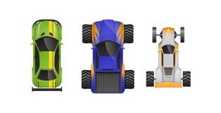 Uppsättningen av olika sportbilar, olika färger, kännetecken, märken, skriver vektor illustrationer