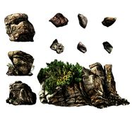 Uppsättningen av olika stenstenblock och vaggar med träd och vegetation vektor illustrationer