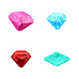 Uppsättningen av olikt färgar diamanter Arkivbilder