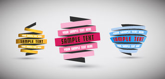 Uppsättningen av origami skyler över brister med stället för din egen text Royaltyfri Foto