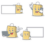Uppsättningen av påseteckenet med brädebärbar datortelefonen poserar vektor illustrationer