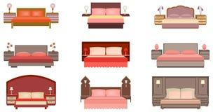 Uppsättningen av pastellfärgade färger nio bäddar ned samlingen med nattduksbord, lampor och huvudgavlar vektor illustrationer