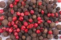 Uppsättningen av peppar överhopar rött och svart Fotografering för Bildbyråer