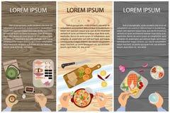 Uppsättningen av personer äter royaltyfri illustrationer
