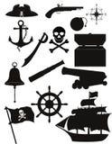 Uppsättningen av piratkopierar symboler svärtar konturvektorillustrationen Arkivbild