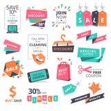 Uppsättningen av plan designstil förser med märke och kuponger för att shoppa royaltyfri illustrationer