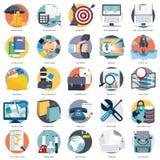 Uppsättningen av plana designsymboler för affären, lön per klicken, den idérika processen som söker, rengöringsdukanalys, tid är  vektor illustrationer