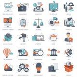 Uppsättningen av plana designsymboler för affären, lön per klicken, den idérika processen som söker, rengöringsdukanalys, tid är  stock illustrationer
