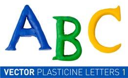 Uppsättningen av plasticine märker engelskt alfabet stock illustrationer