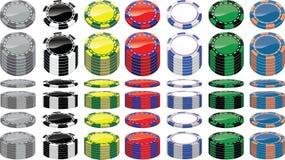 Uppsättningen av poker gå i flisor royaltyfri bild