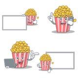 Uppsättningen av popcornteckenet med brädetelefonbärbara datorn poserar royaltyfri illustrationer