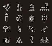 Uppsättningen av Portugal gällde symboler Arkivbild