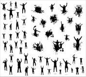 Uppsättningen av poserar från fans för sportmästerskap royaltyfri illustrationer