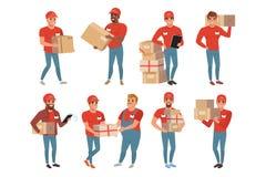 Uppsättningen av post- arbetare i olikt poserar Kurir eller hemsändning Mantecken med jordlottpackeaskar royaltyfri illustrationer