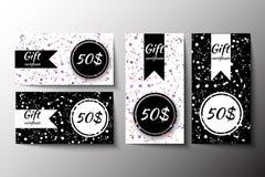 Uppsättningen av presentkorträkningar planlägger med vattenfärgfärgstänk stock illustrationer