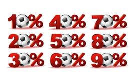 Uppsättningen av procent avfärdar symboler med fotbollbollen Royaltyfri Fotografi