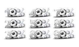 Uppsättningen av procent avfärdar symboler med fotbollbollen Fotografering för Bildbyråer