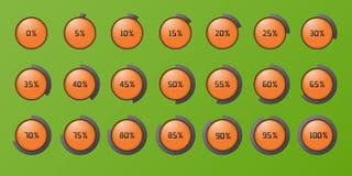 Uppsättningen av procentna cirklar symboler Arkivfoton