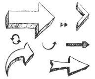 Uppsättningen av räcker utdragna pilar Vektor Illustrationer