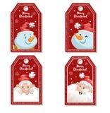 Uppsättningen av röd jul för tecknad film märker eller märker med att skratta och att le Santa Claus och snögubbear Xmas-gåvaetik royaltyfri illustrationer