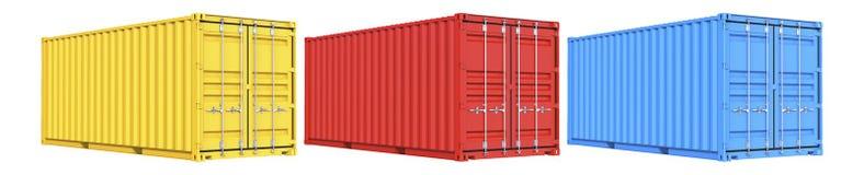 Uppsättningen av röd sändnings för guling- och blåttlastbehållare fraktar tjugo fot För logistik och se trans. 3d stock illustrationer