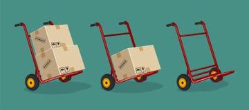 Uppsättningen av röda spårvagnar med lådan boxas på en plan bakgrund stock illustrationer