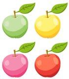 Uppsättningen av rött, gult, rosa färger och gräsplan Apple bär frukt med sidor också vektor för coreldrawillustration Royaltyfria Foton