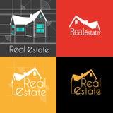 Uppsättningen av Real Estate skissar huset Royaltyfri Foto