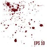 Uppsättningen av realistiskt blodigt plaskar Droppe och klick av blod _ royaltyfri illustrationer