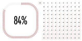 Uppsättningen av rektangelprocentsatsen diagrams från 0 till 100 arkivfoton