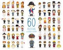 Uppsättningen av 60 relevanta politiker och ledare av historia i tecknad film utformar royaltyfri illustrationer