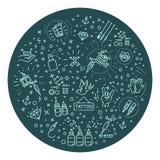 Uppsättningen av rengöringsduklinjen symboler - tatuera salongen Arkivbild