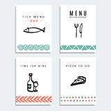Uppsättningen av restaurangmenykort med matlinjen skissar symboler, Arkivbilder