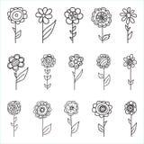 Uppsättningen av retro stil blommar i ljusa färger royaltyfri illustrationer