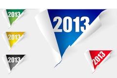 Uppsättningen av riven legitimationshandlingar med uttrycker året 2013 vektor illustrationer