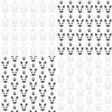 Uppsättningen av sömlösa modeller med katter tystar ned och tafsar Svartvita bakgrunder för vektor med isolerade objekt royaltyfri illustrationer