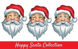 Uppsättningen av Santa Claus isolerade huvud Royaltyfri Foto