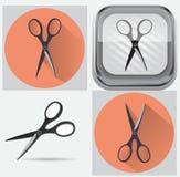 Uppsättningen av scissor Fotografering för Bildbyråer