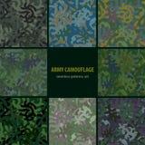 Uppsättningen av seamless kamouflage nio mönstrar Arkivfoton