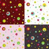 Uppsättningen av seamless mönstrar med färgrikt cirklar. royaltyfri illustrationer