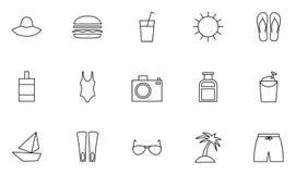 uppsättningen av semesterort 15 och semestrar skisserar symboler Vektor Illustrationer