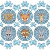 Uppsättningen av sex etiketter med tystar ned av djur Royaltyfri Foto