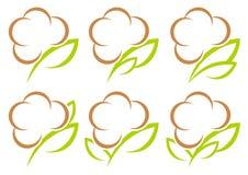 Uppsättningen av sex grafiska bomullssymboler gör grön och Browm vektor illustrationer