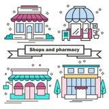 Uppsättningen av shoppar i en linjär stil royaltyfri illustrationer