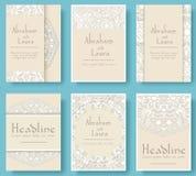 Uppsättningen av sidor för reklamblad för bröllopkort smyckar illustrationbegrepp Traditionell tappningkonst, islam, arabiska, in Arkivfoto