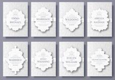 Uppsättningen av sidor för reklamblad för bröllopkort smyckar illustrationbegrepp Traditionell tappningkonst, islam, arabiska, in Royaltyfri Bild