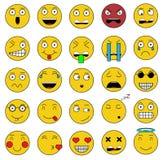Uppsättningen av sinnesrörelseuppsättningen av emojisymboler ler den gula symbolen Arkivbild