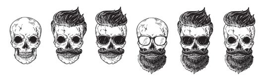 Uppsättningen av skäggiga män vänder mot, hipsters med den olika skallen för frisyrmustaschskägg Etiketter för konturemblemsymbol stock illustrationer
